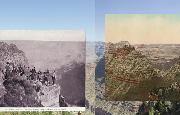 A mosaic of historical images of the canyon. Top insets courtesy of the Keystone-Mast Collection, California Museum of Photography, Riverside. Mark Klett and Byron Wolfe, 2009
