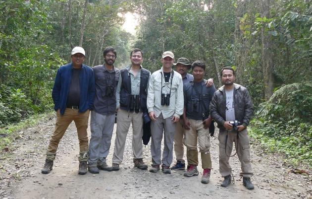 Noah in India with New Year's Eve birding crew. Noah Strycker