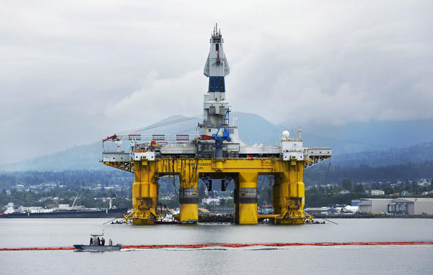 The Polar Pioneer, the rig that Shell leased for its Arctic exploration, is seen parked in Port Angeles, Washington on May 12, 2015. Jason Redmond/Reuters