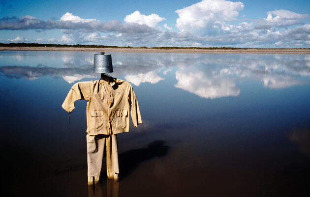 Alberta. A scarecrow left in tailings ponds to protect birds from noxious substances, 2005. Photograph by Alex Webb/Magnum Photos