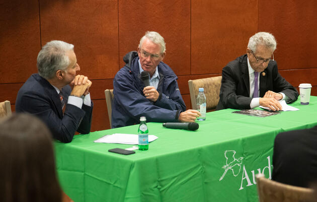 Audubon President and CEO David Yarnold, from left, Rep. Francis Rooney (R-FL), and Rep. Alan Lowenthal (D-CA) lead a briefing at the U.S. Capitol Visitors Center. Luke Franke/Audubon