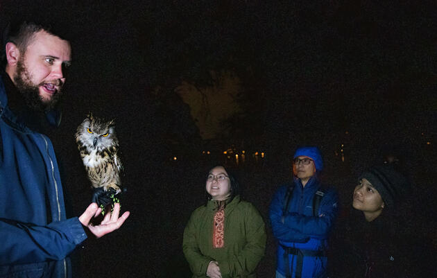 Raptor handler John Prucich introduces owl walk attendees to one of his non-releasable Eurasian Hawk Owls. Dominic Arenas/Audubon
