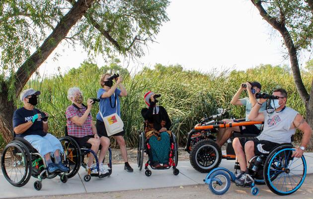 Birders take part in Tucson Audubon Birdability Field Trip at Sweetwater Wetlands Reserve in Tucson, Arizona. Rhianyon Larson