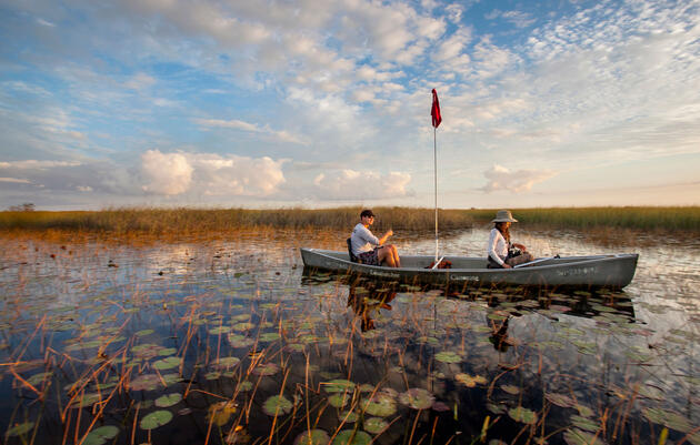Canoers navigate through a wetland in the central Everglades. Mac Stone