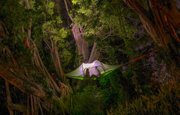 Now we're talking: Hover close to forest birds in the Stingray, a rainproof, three-person tent that can be hung between trees. Portfolio Vero Beach