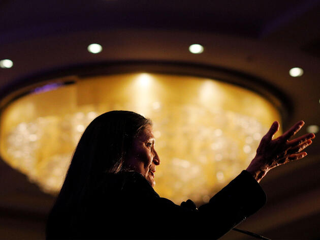 U.S. Representative Deb Haaland speaks at a reception hosted by the Congressional Native American Caucus, January, 2019. Reuters/Alamy