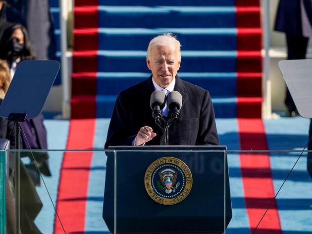 President Joe Biden speaks during the Presidential Inauguration in Washington, January 20th, 2021. Patrick Semansky/AP/Alamy
