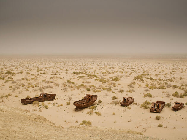 Fishing boats lie abandoned in what was once the Aral Sea. Ismael Alonso