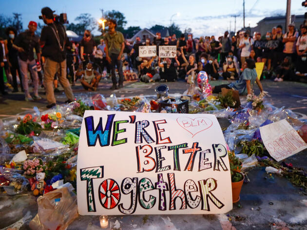 Protesters gather at a memorial for George Floyd in Minneapolis. John Minchillo/AP