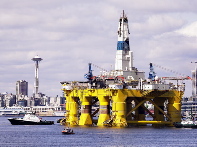 The oil rig Polar Pioneer, pictured here in Seattle's Elliott Bay on May 14, is being leased by Shell for drilling in the Arctic this summer. Elaine Thompson/AP