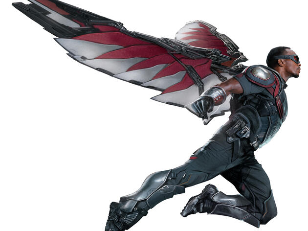 The Falcon, played by Anthony Mackie in Captain America: Civil War. Marvel Studios