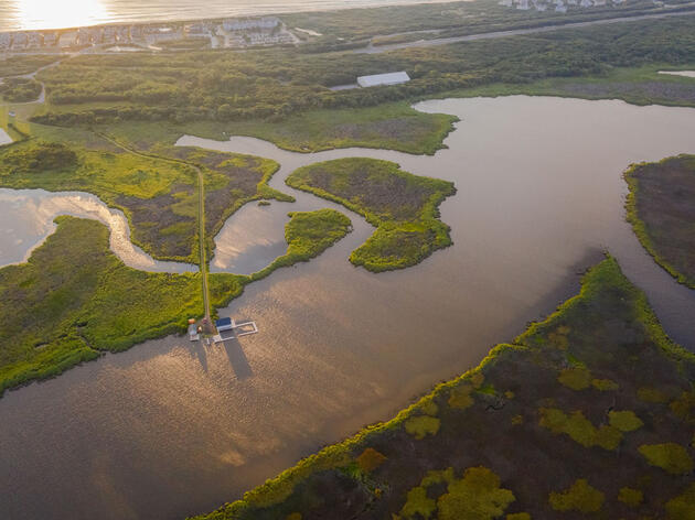 Aerial view of the Donal C. O'Brien, Jr. Sanctuary and Audubon Center at Pine Island in Corolla, North Carolina. Justin Cook
