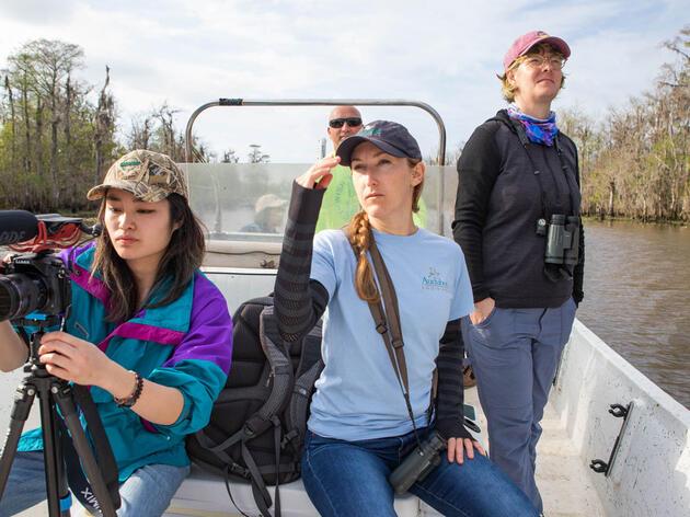 Christine Lin, far left, on a work trip to Maurepas Swamp near New Orleans, Louisiana. Dominic Arenas/Audubon