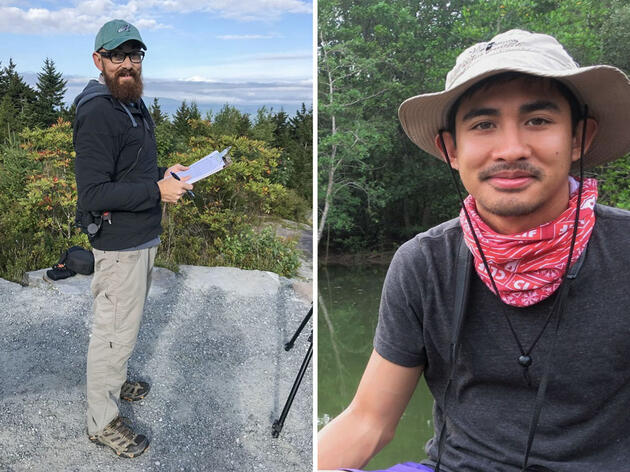 From left: Chad Witko during his tenure as a raptor biologist for the Pack Monadnock Raptor Observatory in Peterborough, New Hampshire in 2018. Photo: Kat Lauer; Mikko Jimenez during a birding trip in Krabi, Thailand. Photo: Sarah Jacobson