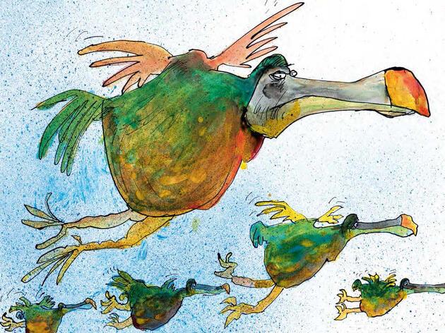 Flying Dodos. Illustration: Ralph Steadman