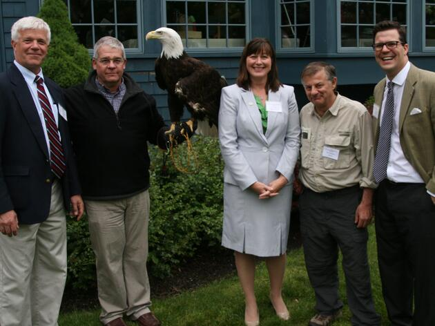 L to R: NYSDEC Commissioner Joe Martens, Paul Schnell & Liberty the Bald Eagle, Audubon NY Executive Director Erin Crotty, Applied Ecological Services Chairman & Founder Steve Apfelbaum, & Montezuma Audubon Center Director Frank Moses.