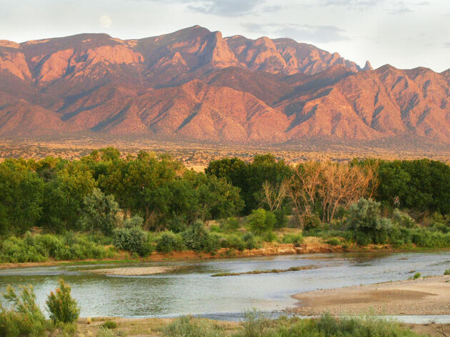The Sandia Mountains and the Rio Grande near Bernalillo, New Mexico. Erich Schlegel/Dallas Morning News/Corbis
