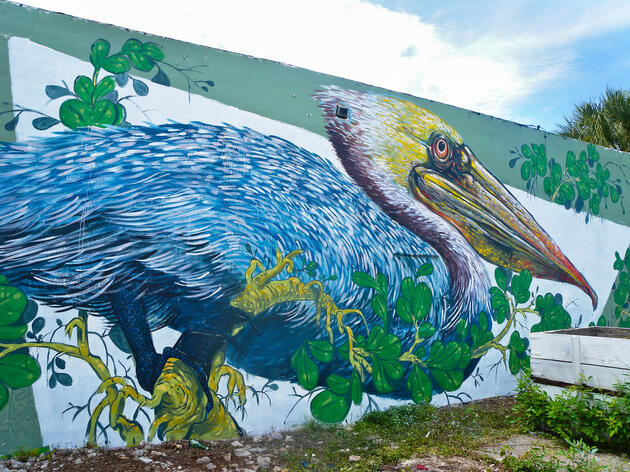 Hitnes' Brown Pelican, painted at 2021 NW 2nd Avenue in Miami, FL. Giacomo Agnetti