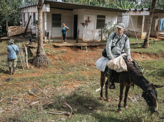 The team sets out on mule for their next destination: Ojito de Agua, a former Russian mining prospect camp in eastern Cuba. Greg Kahn