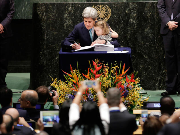Leaders from more than 170 nations signed the Paris Agreement on climate change at the United Nations headquarters in NYC, including U.S. Secretary of State John Kerry (pictured here with his granddaughter). Mark Lennihan/AP