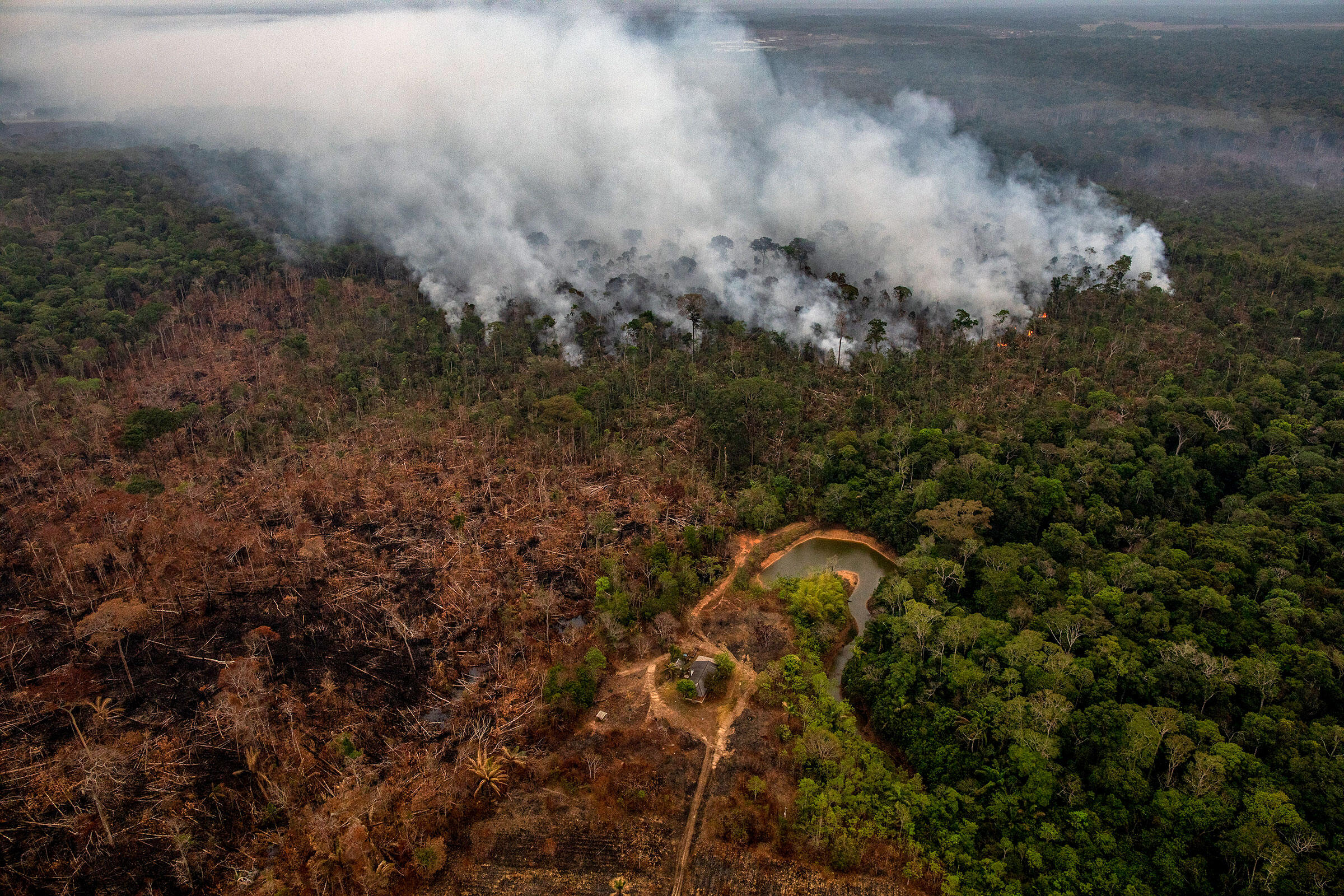 Fires burn in the Amazon rainforest near Porto Velho, Brazil August 2019. Victor Moriyama/The New York Times