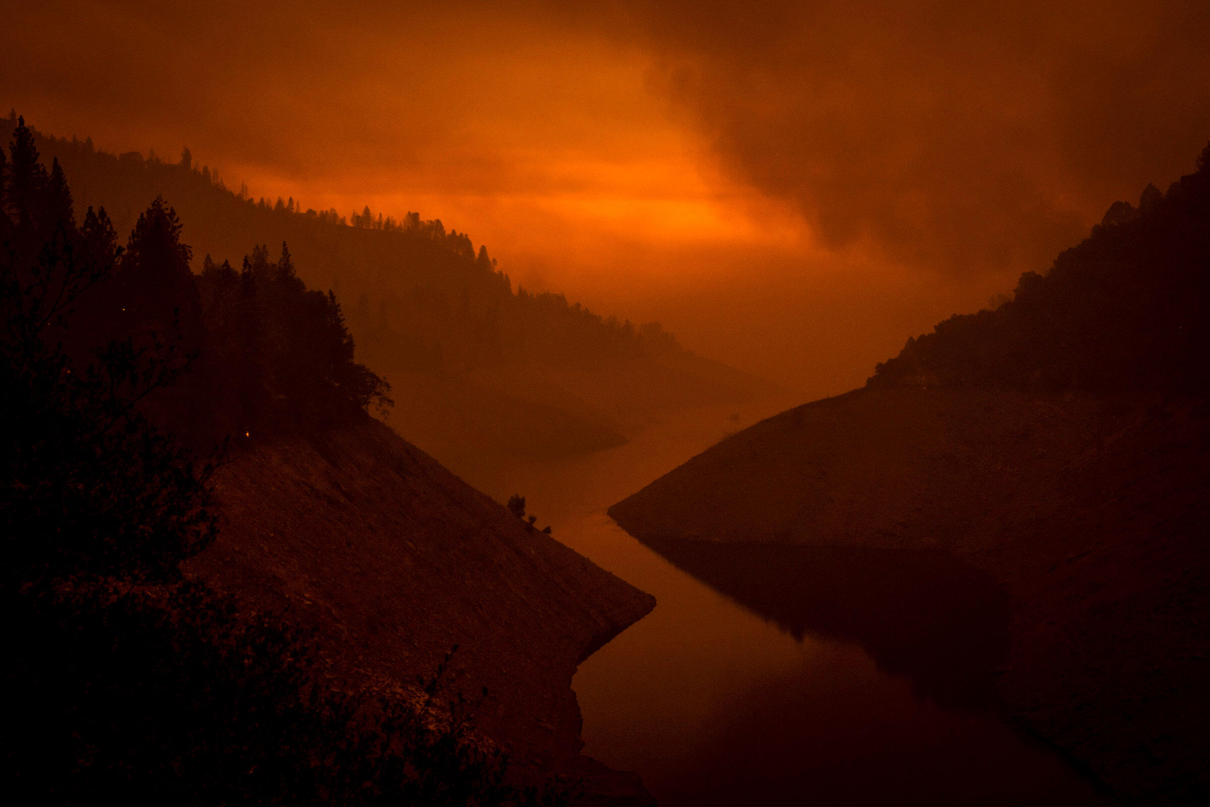 Looking over Lake Oroville after the Bear Fire, part of the North Complex Fire in Oroville, California, burned through on September 9th, 2020. Max Whittaker/The New York Times/Redux