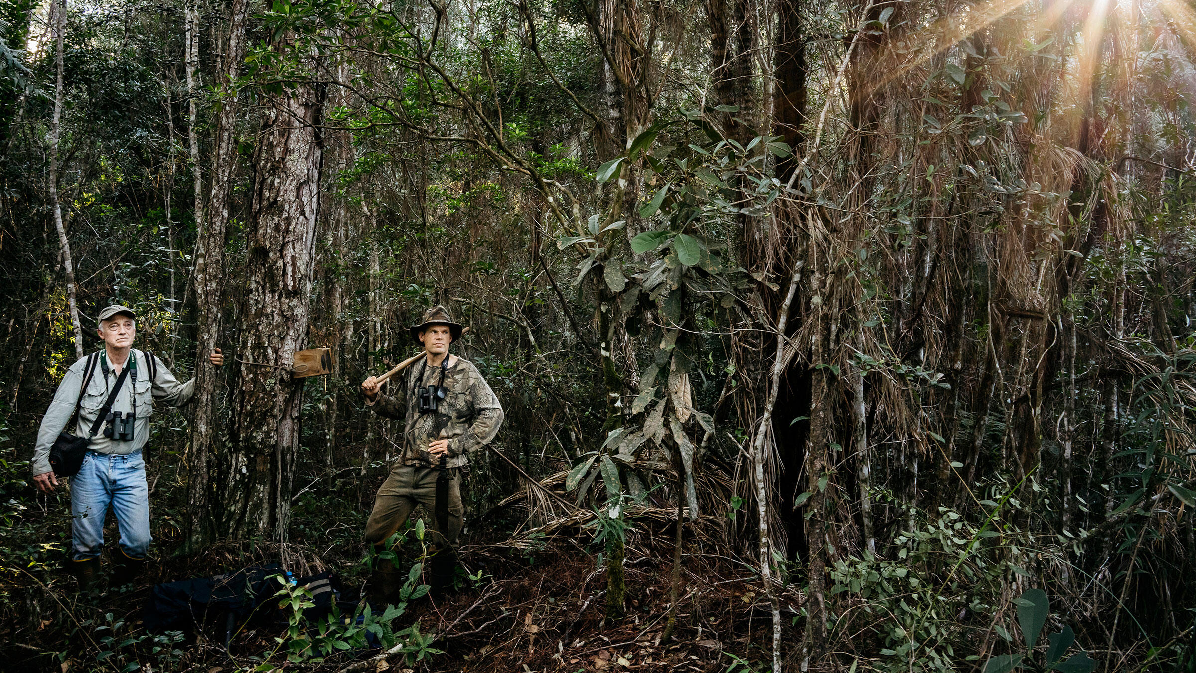 Tim Gallagher (left) and Martjan Lammertink on their Ivory-bill quest. Some believe that if the phantom bird still exists, it would mostly likely be here, in the rugged mountain of eastern Cuba. Greg Kahn