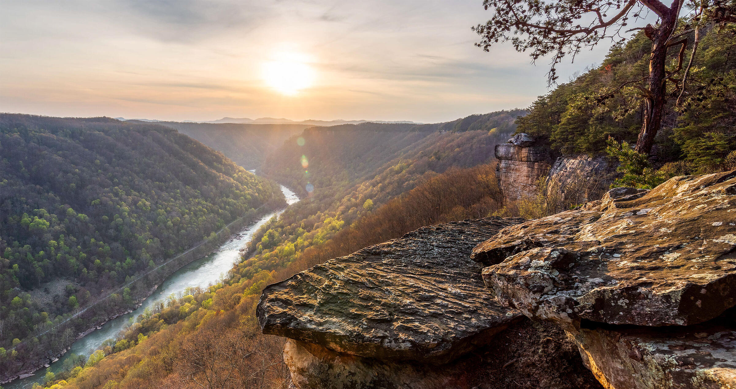 The sun sets on an early spring evening in New River Gorge National Park, West Virginia. Jesse Thornton/Alamy
