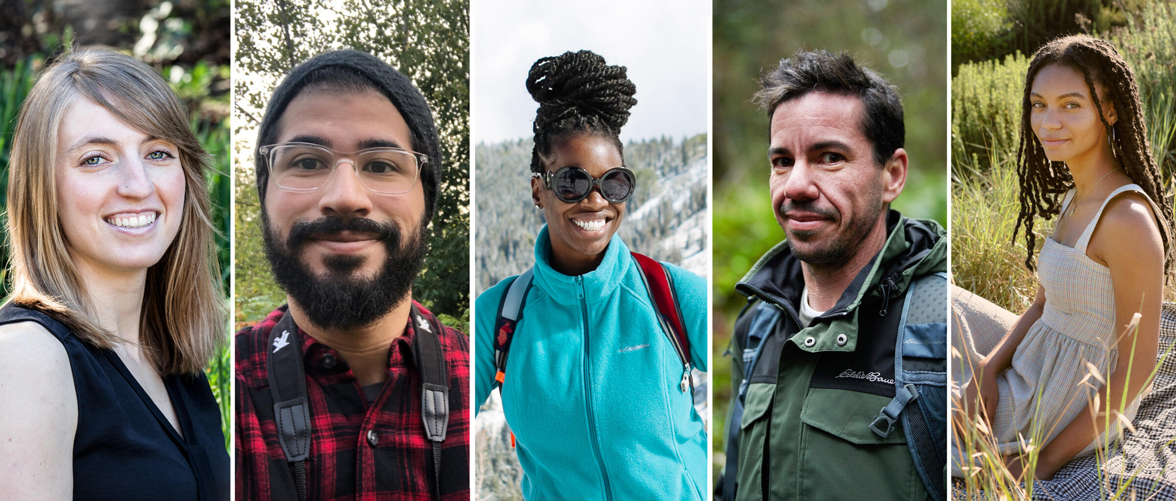 From left: Ava Holliday, Sebastian Moreno, Nailah Blades, Perry Cohen, and Leah Thomas. Photos, from left: Nancy Holliday Photography, Sebastian Moreno, Nicole Lennox, Courtesy of Eddie Bauer, Courtesy of Christy Dawn and James Branaman