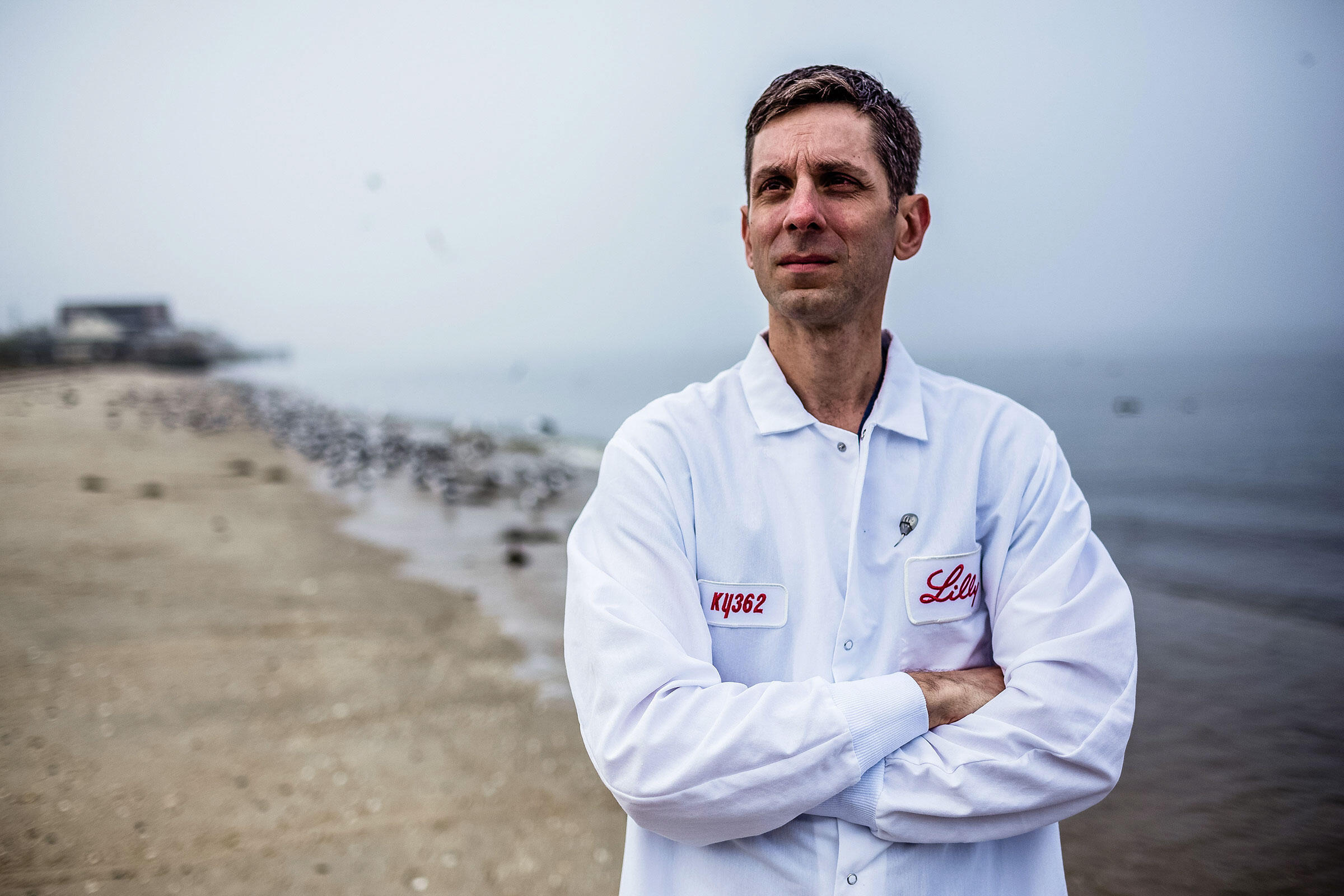 Jay Bolden, a senior biologist with pharma giant Eli Lilly, has spent the last five years proving a synthetic molecule works as well as horseshoe crab blood in a life-saving medical test. Timothy Fadek/Redux