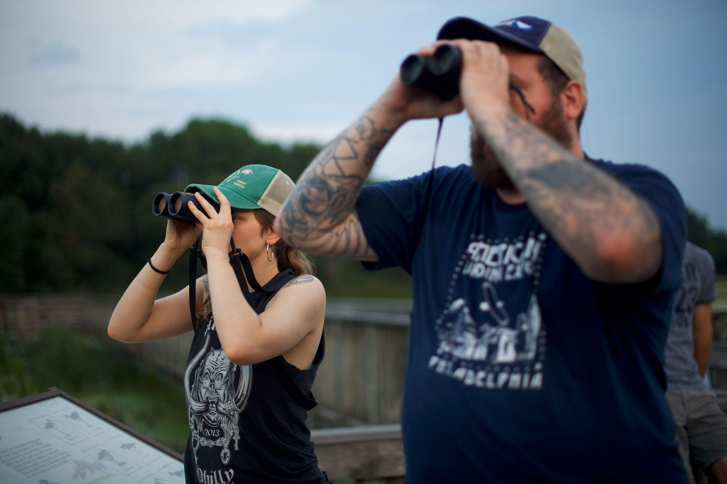 Caleb Hunt (left) and Tony Croasdale at the John Heinz National Wildlife Refuge at Tinicum in Philadelphia. In a city known for its punk underground and avian history, the friends have found an overlap that celebrates both niches. Mark Makela