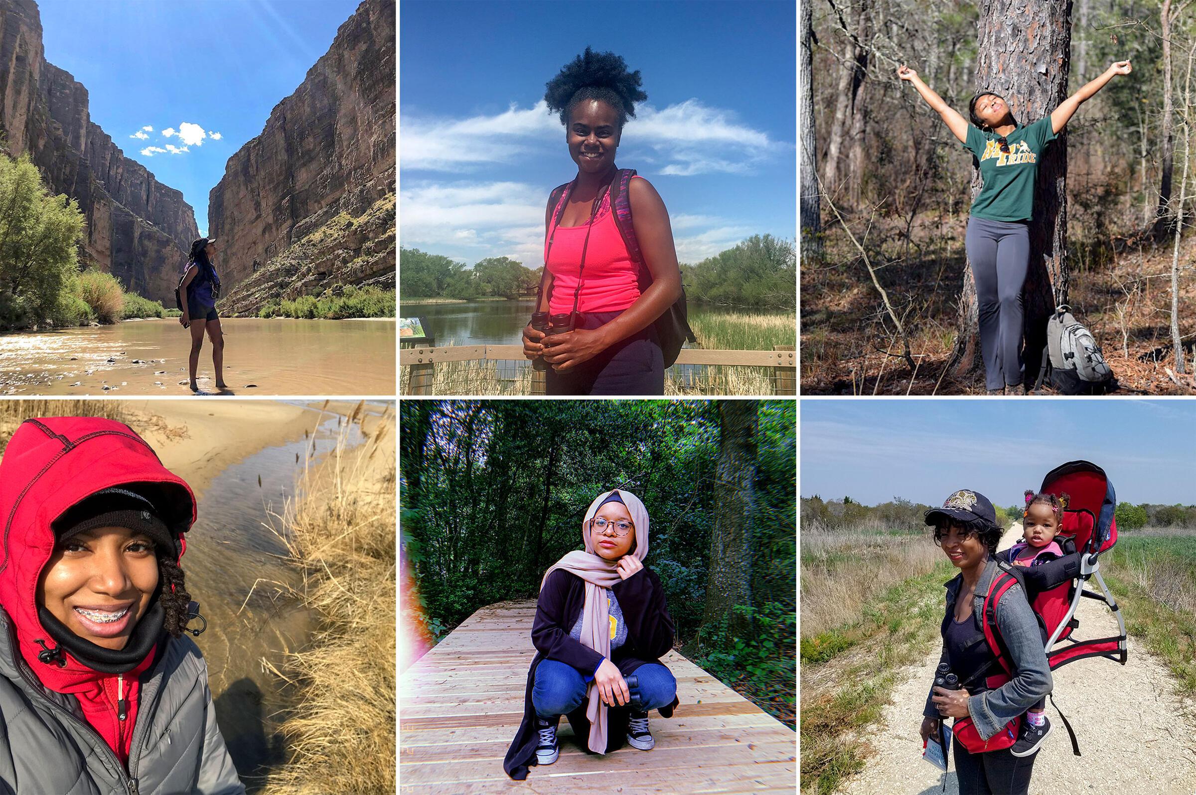 Clockwise from top left: Danielle Belleny; Joelle Jenkins; Deja Perkins; Chidi Paige; Baiyinah Abdullah; Ashley Gary.