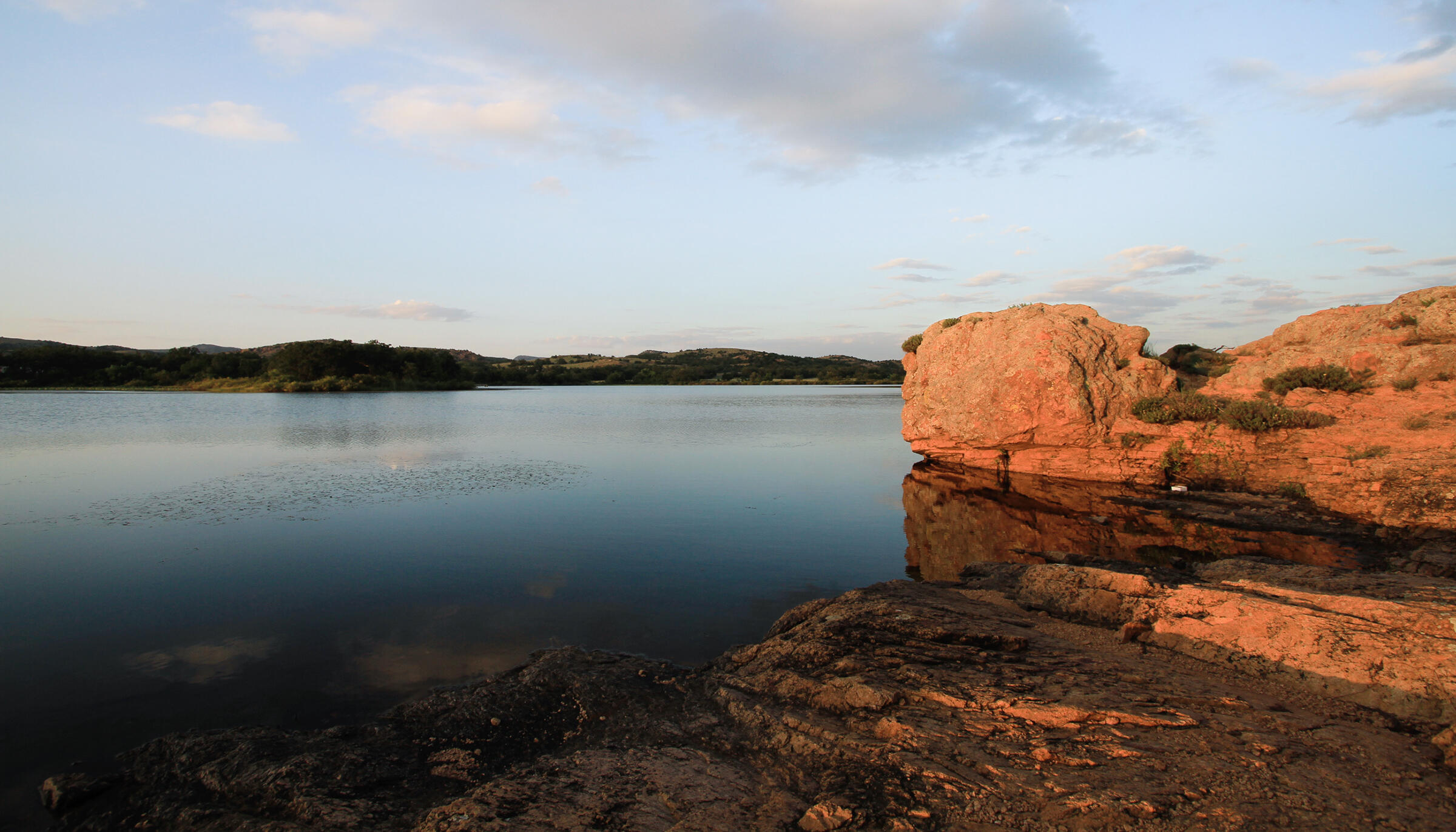 """Quanah Parker Lake, Wichita Mountains Wildlife Refuge, Oklahoma. <a href=""""https://www.flickr.com/photos/lsmith2010/4855722348/"""">Larry Smith</a>/Flickr CC (CC BY-NC 2.0)"""