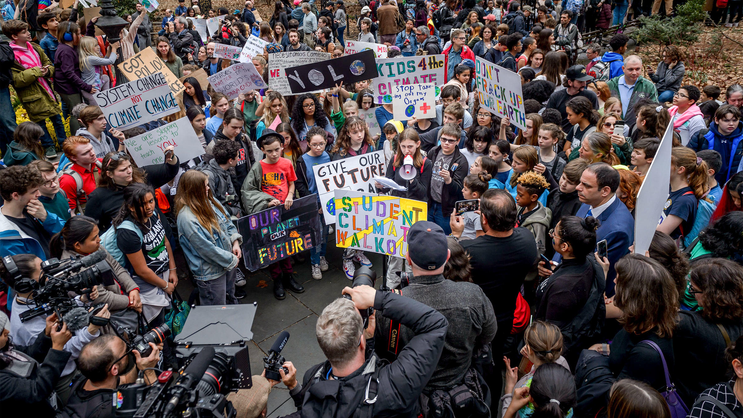 Alexandria Villaseñor, 13, speaks at the climate strike in City Hall Park, New York City, on March 15, 2019. Millions of students across the world walked out of class that day to protest climate change. Erik McGregor/Pacific Press/Alamy