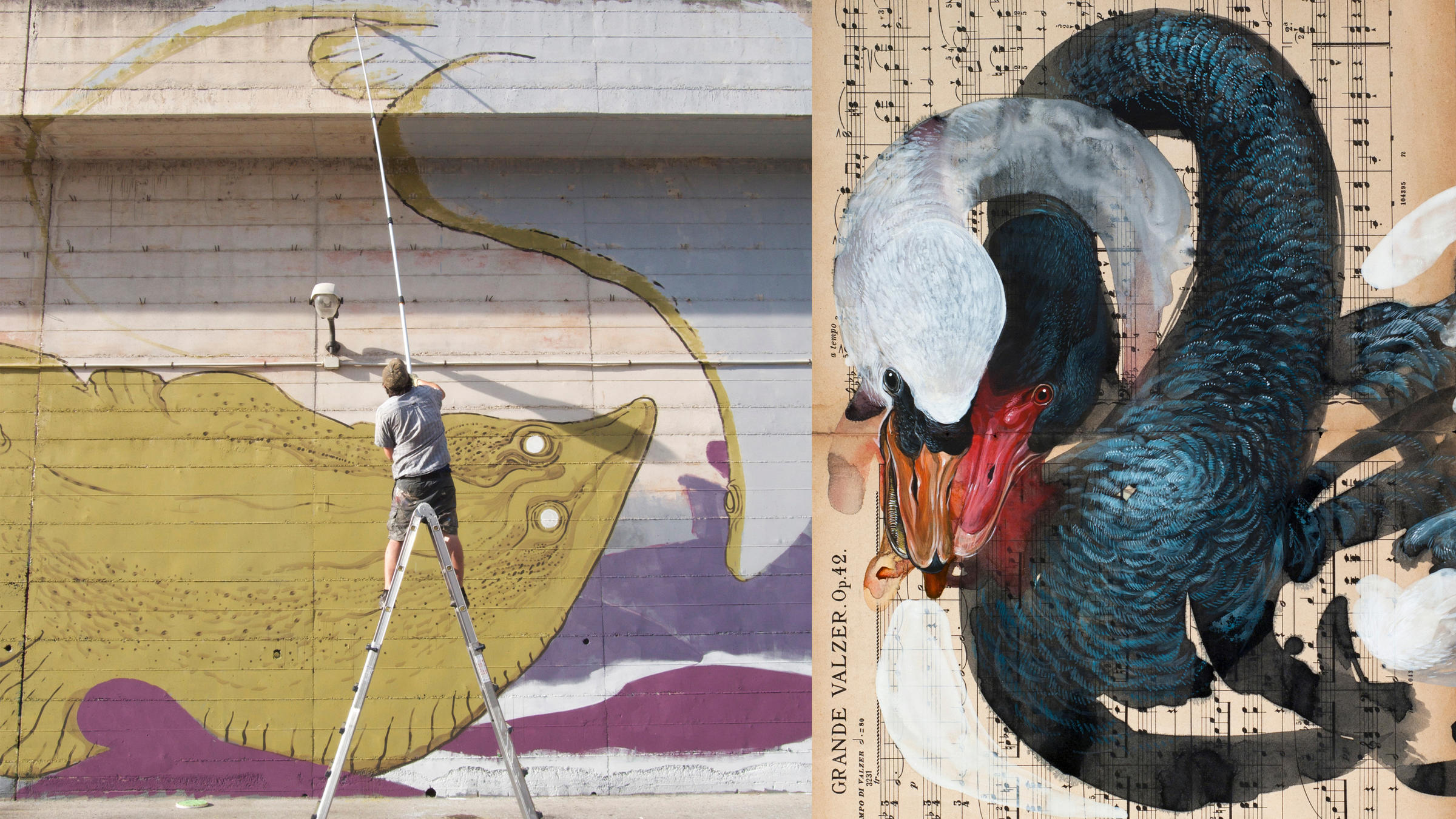 Left: Hitnes works on a mural in Campobasso, Italy. Photo: S. Roccia; Right: Painting by Hitnes.
