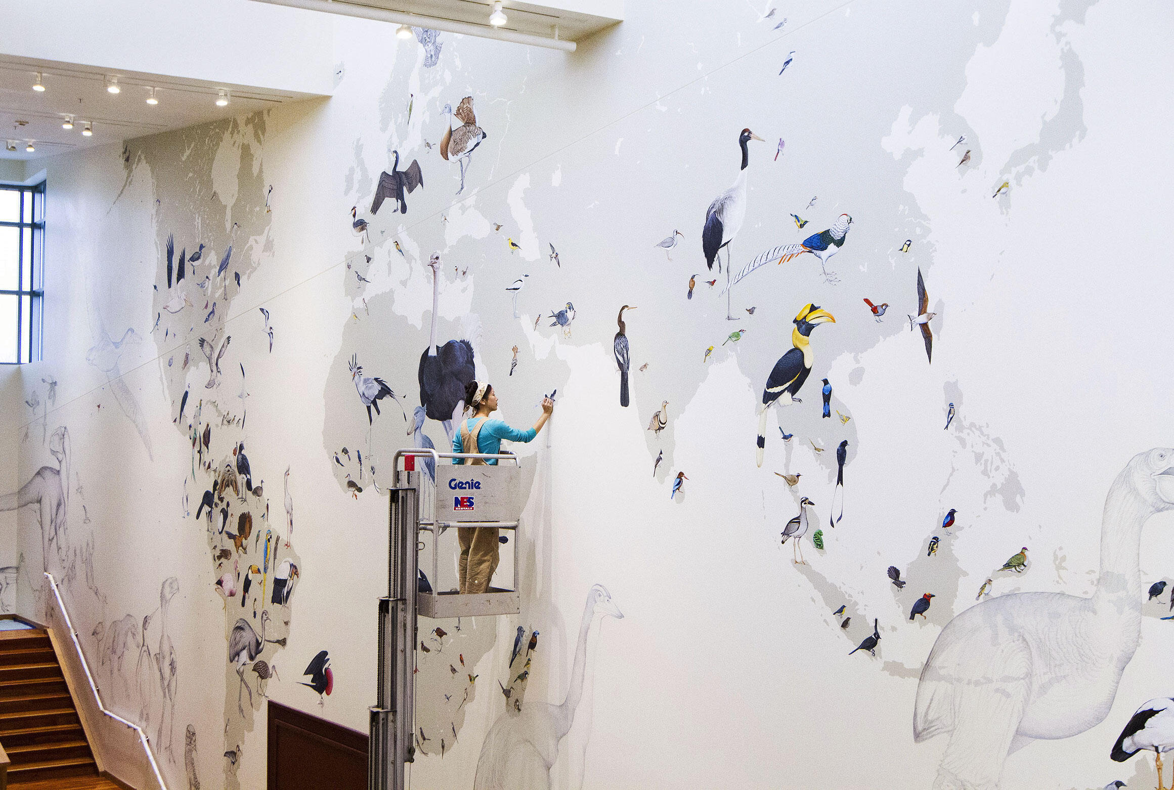 """Artist and illustrator Jane Kim at work on the Cornell Lab of Ornithology's newest mural, """"From So Simple a Beginning: Celebrating the Evolution and Diversity of Birds."""" Courtesy of <a href=""""http://inkdwell.com/"""">Ink Dwell</a>"""