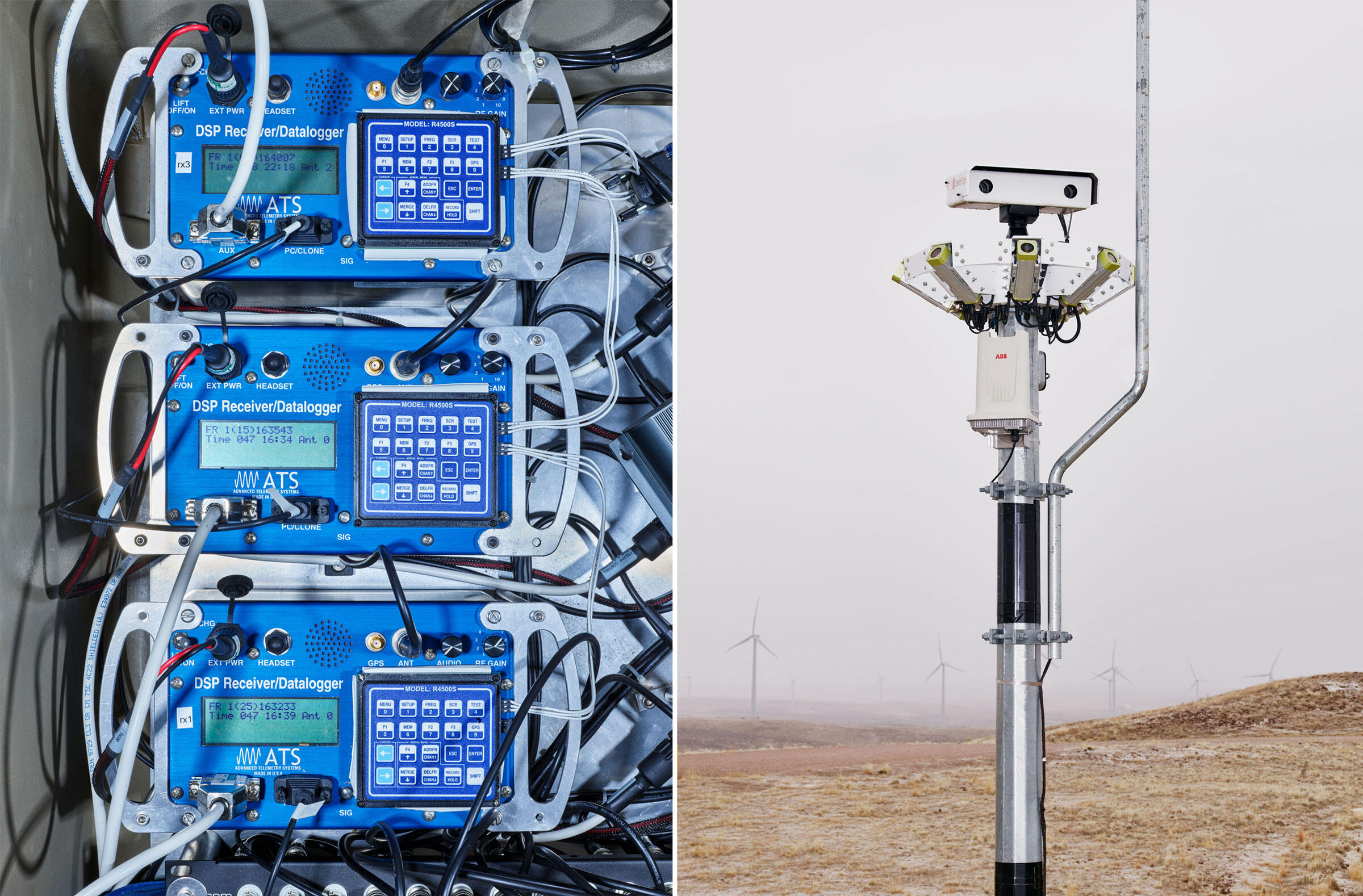 From left: Radio receivers scan for signals of tagged California Condors; IdentiFlight can spot eagles flying near wind turbines. Photos: Spencer Lowell