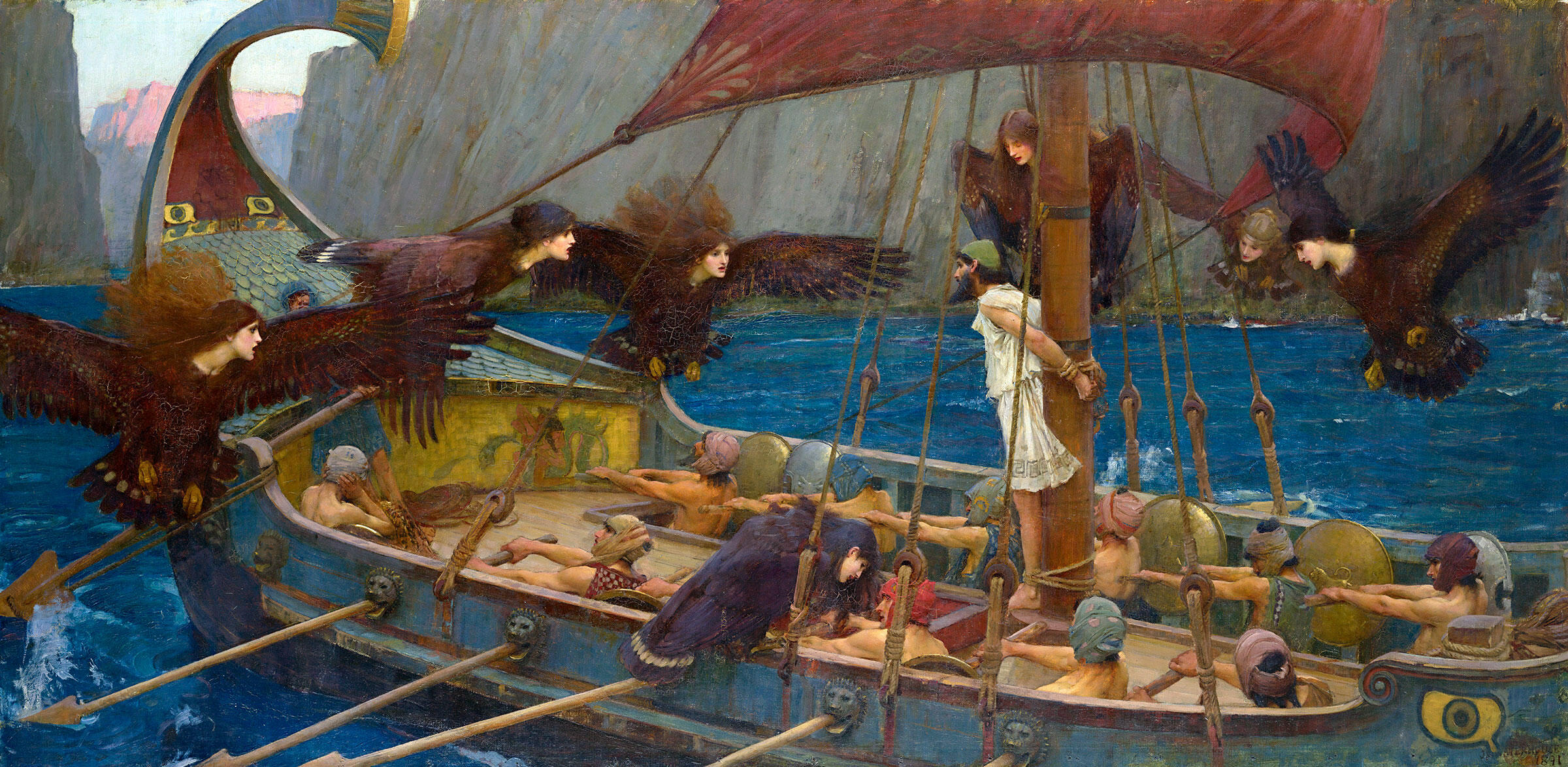 Odysseus and the Sirens (1891) shows the Greek warrior-king bound to his ship's mast as the Sirens' song calls to him. Painting: John William Waterhouse
