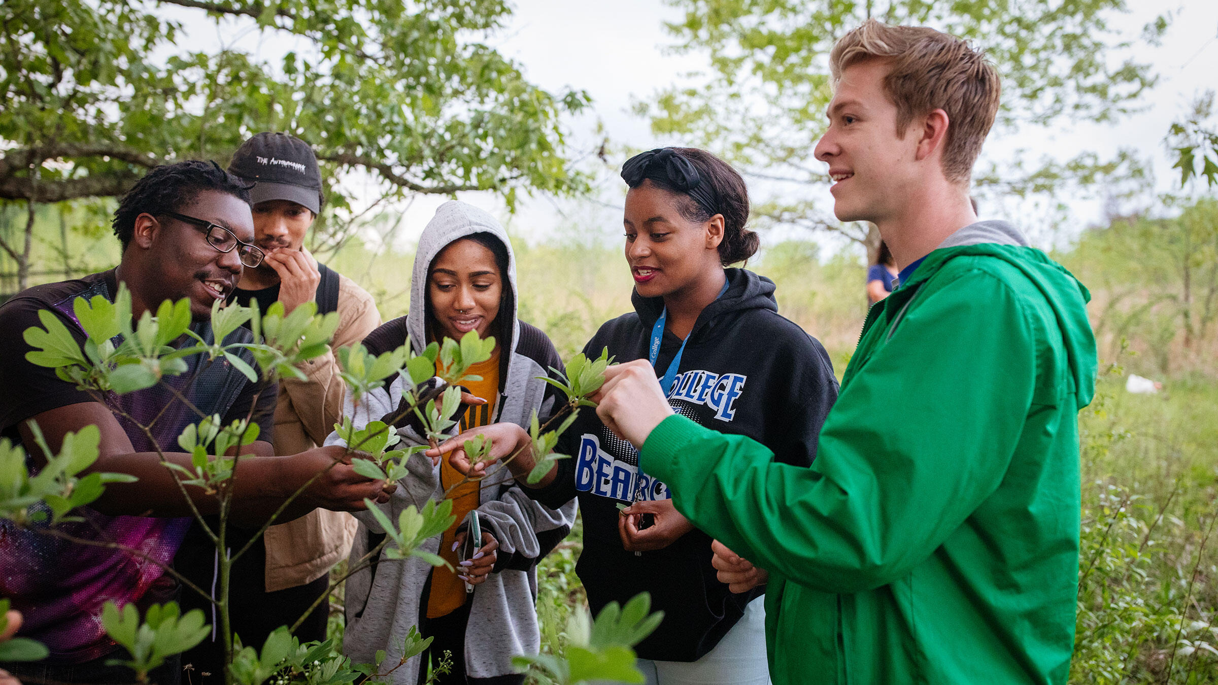 Students from Rust College and University of Mississippi learn about Sassafras albidum, a native tree with a multiple benefits to wildlife. Mike Fernandez/Audubon
