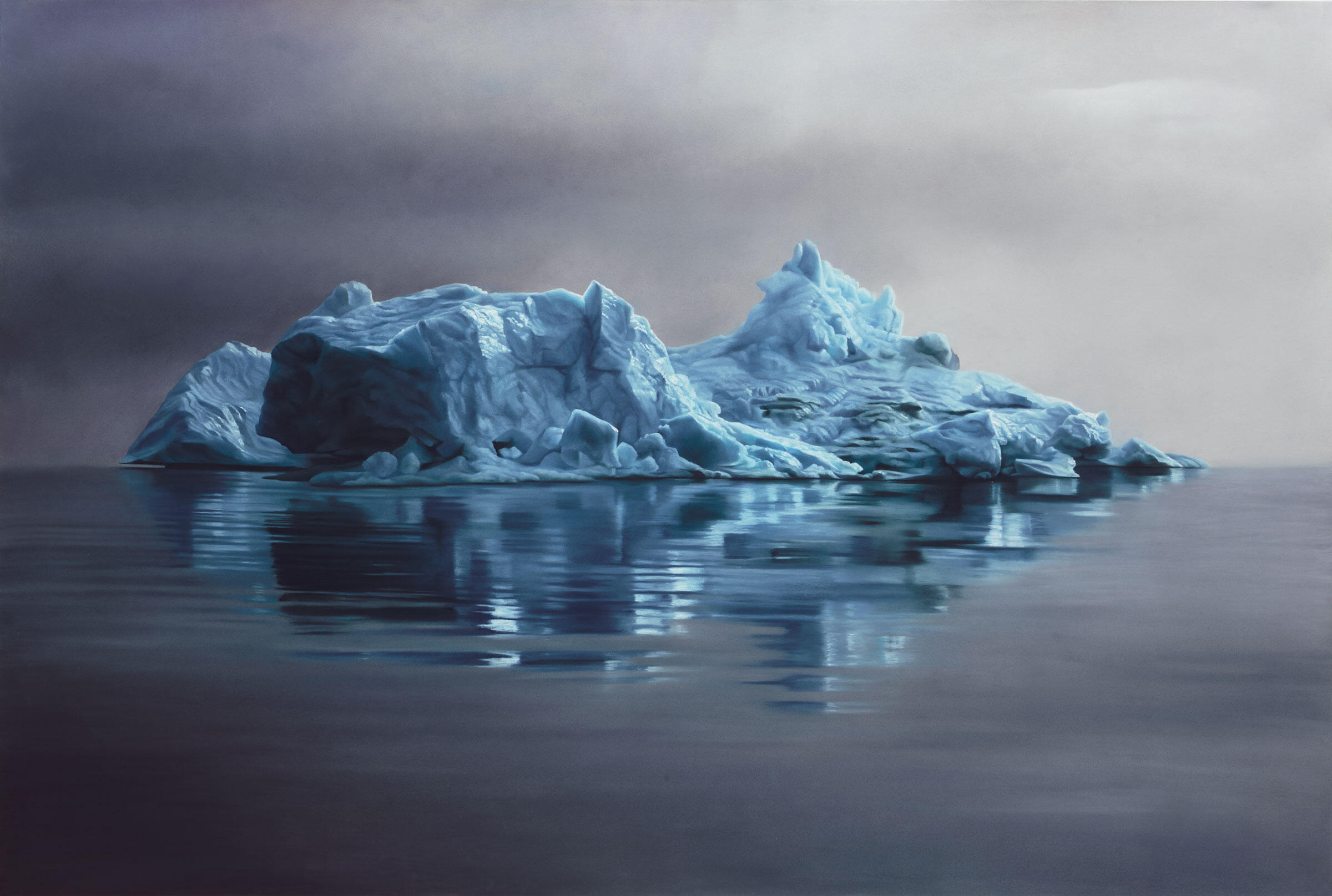 """Melting icebergs are one of the most-visible harbingers of climate change. Greenland #62, 47""""X70"""", Soft Pastel on paper, 2013. Painting: Courtesy of the artist Zaria Forman"""