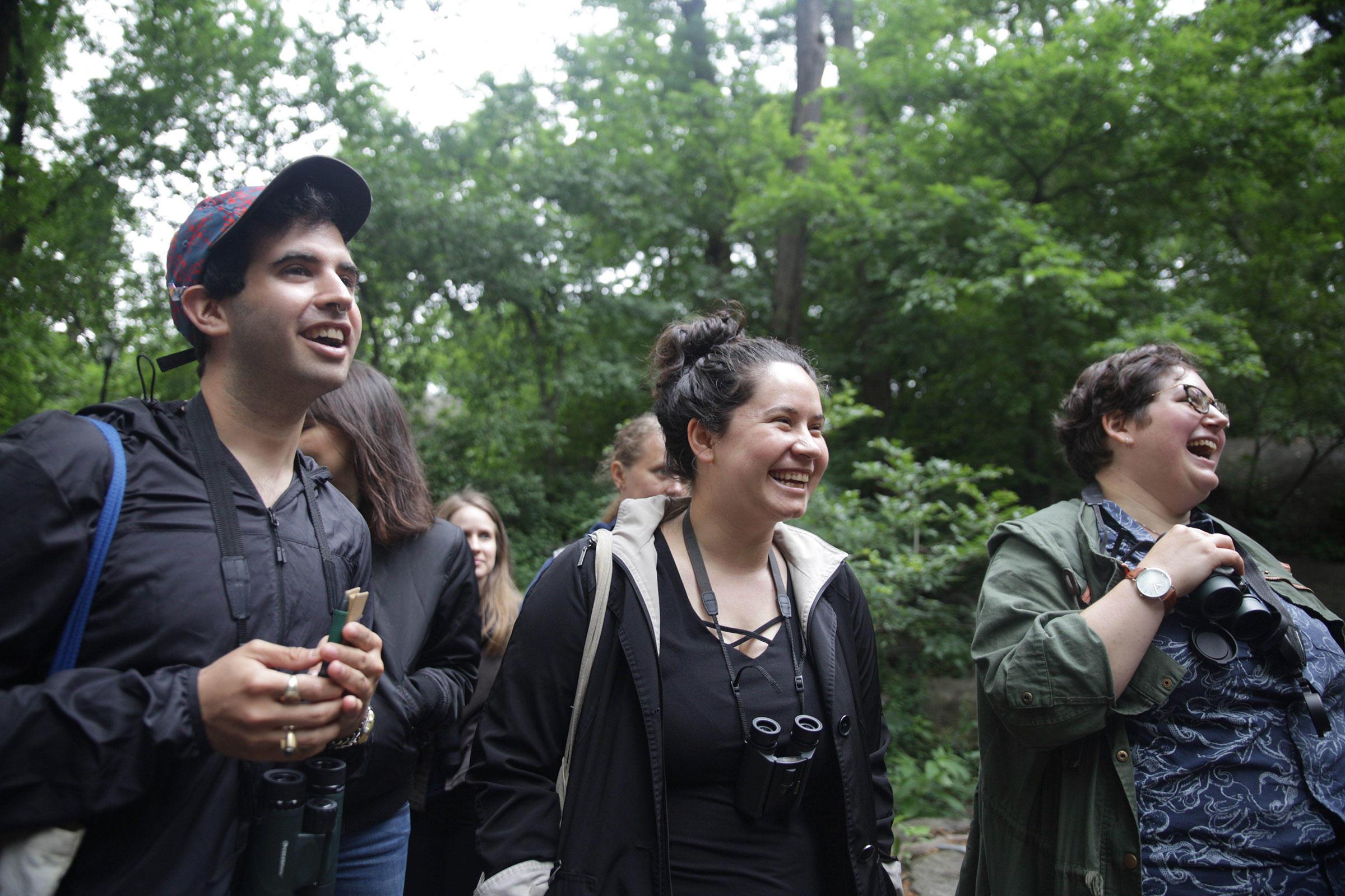 Birders in New York City get a pep talk from the Let's Go Birding Together walk organizers. Eileen Solange Rodriguez/Audubon