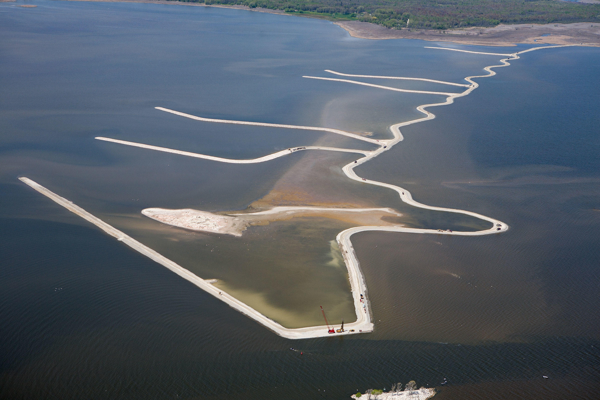 An aerial image of Lower Green Bay in 2013 shows the early progress in rebuilding the Cat Island chain. U.S. Army Corps of Engineers