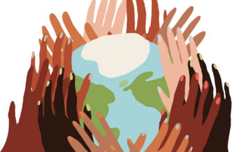 Illustration of many hands holding up the Earth.