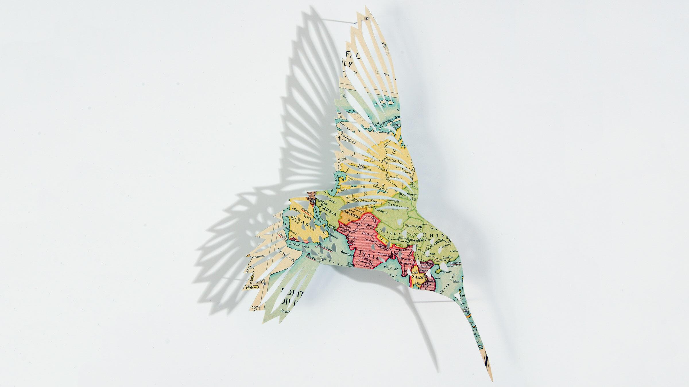Bee Hummingbird. Paper sculpture: Claire Brewster