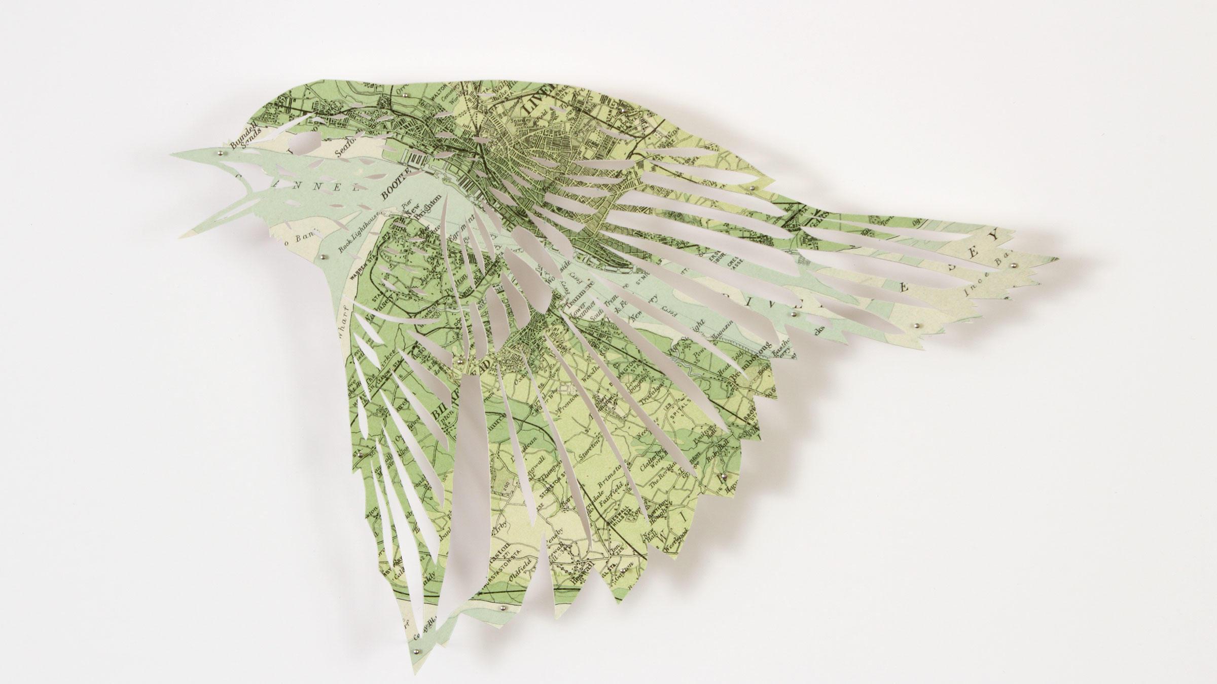 Blackbird. Paper sculpture: Claire Brewster