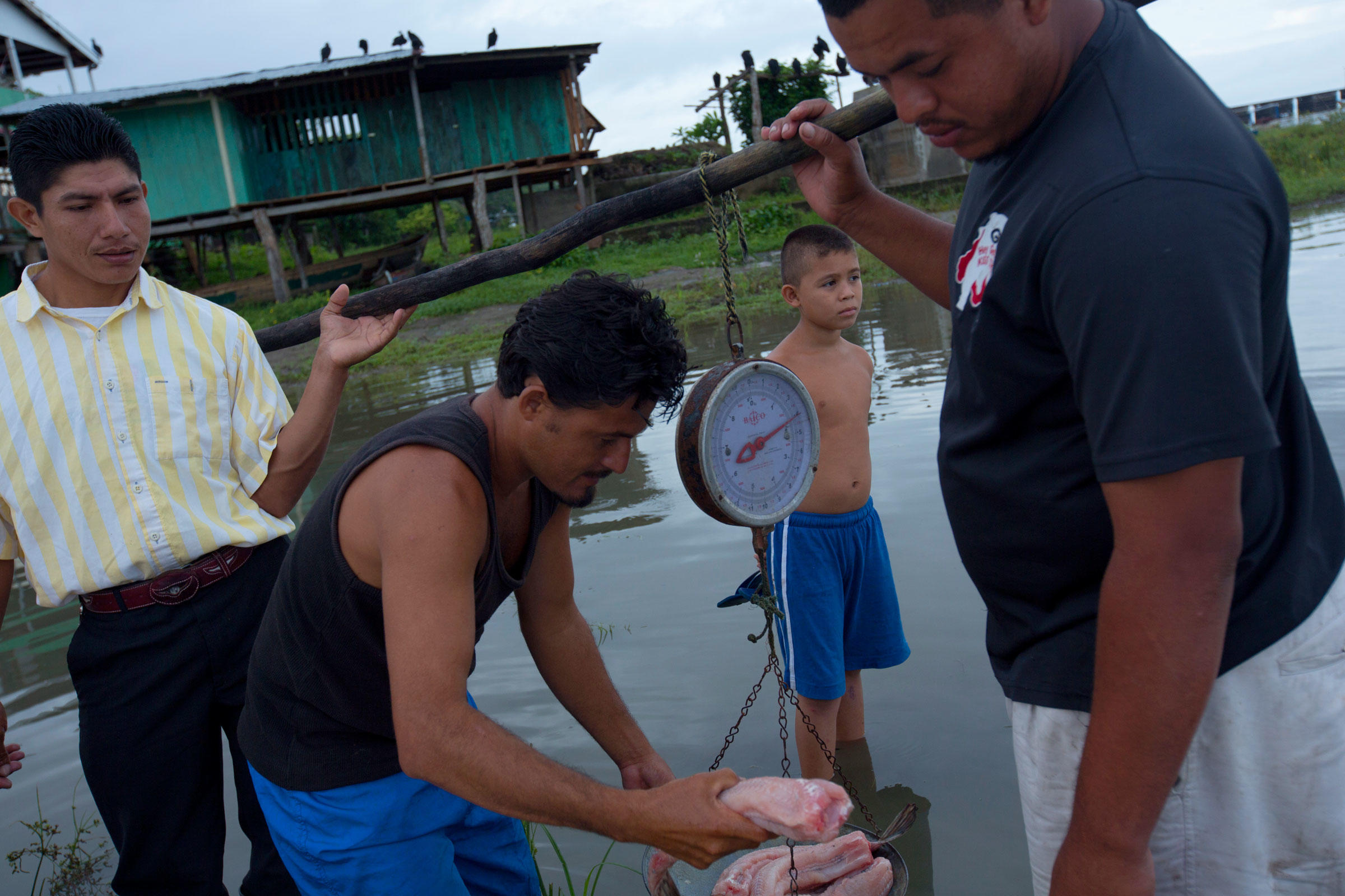 Fisherman sell their catch in San Miguelito, just north of where the canal will cut through Lake Nicaragua. Ivan Kashinsky