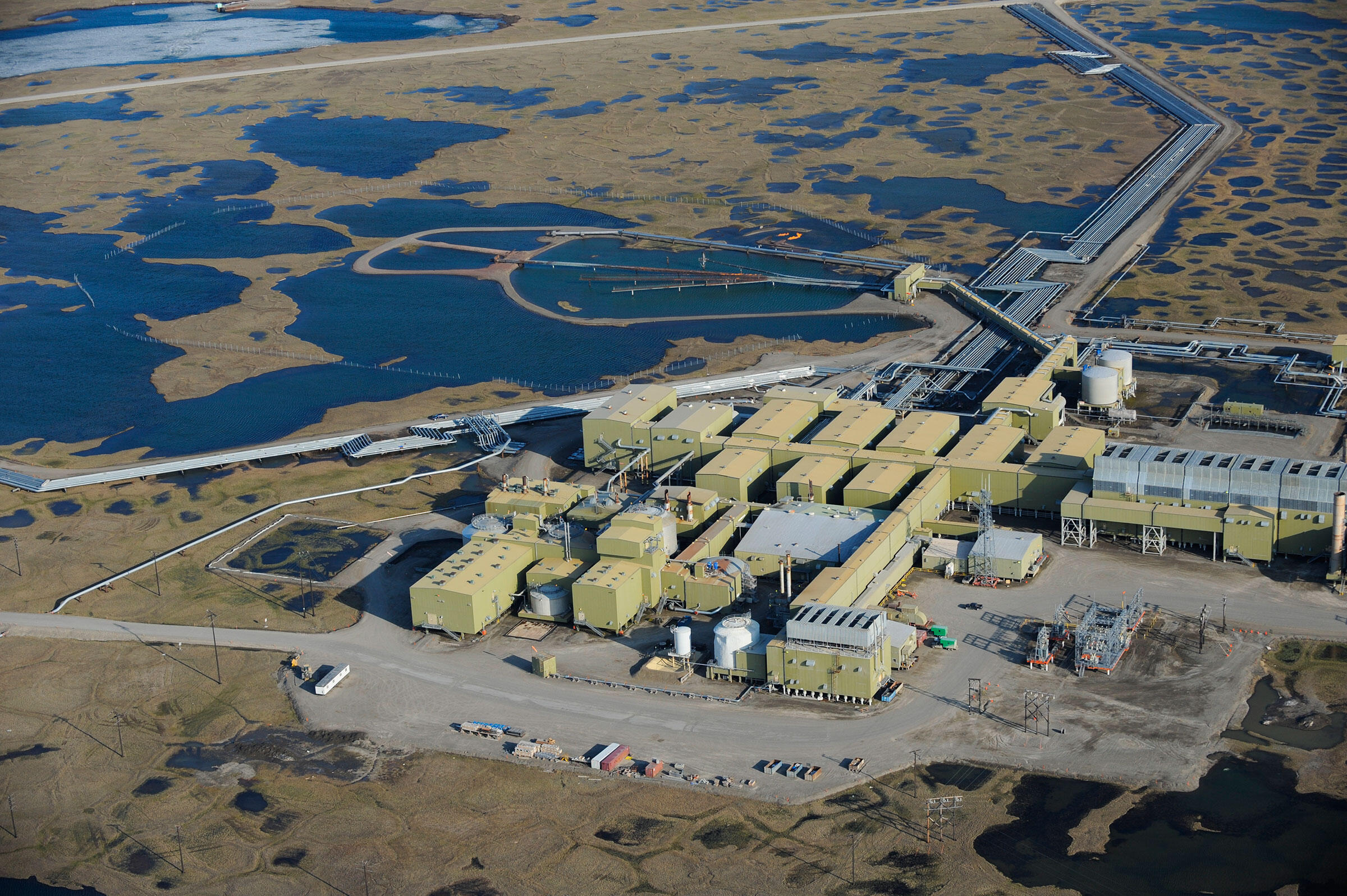 At the Prudhoe Bay oilfield, buildings sit on top of permafrost tundra where 70 species of birds nest. Florian Schulz