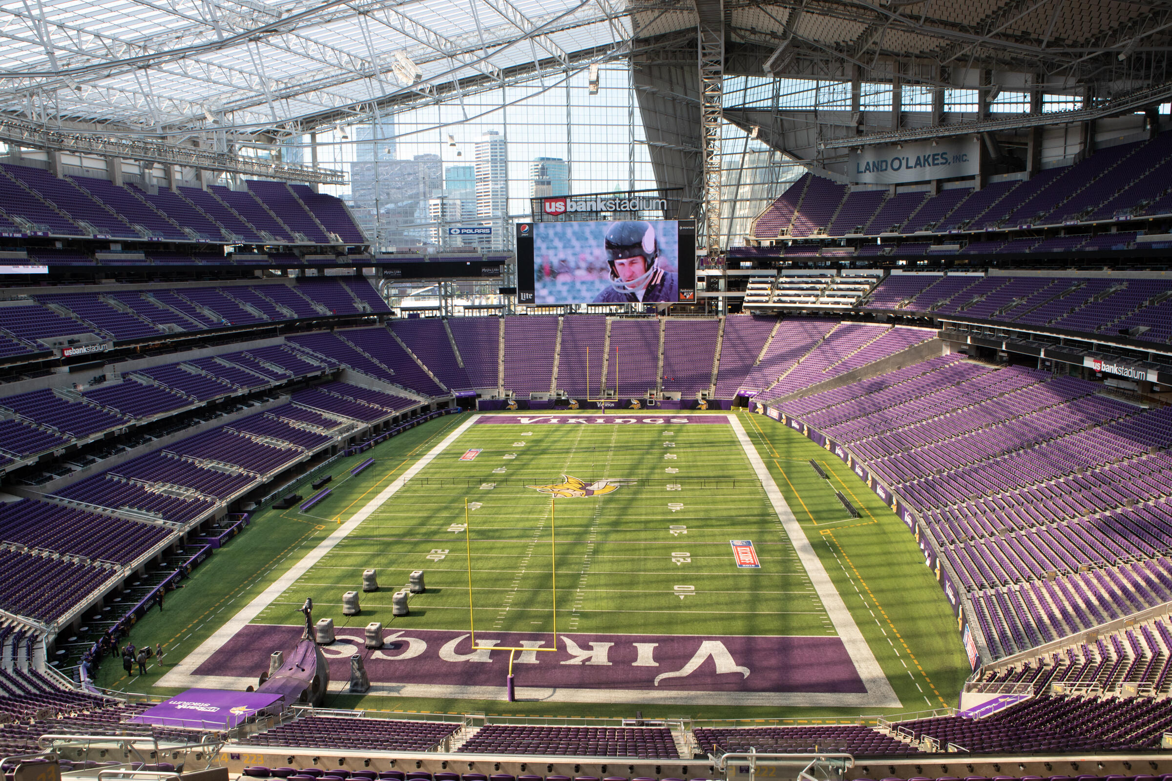 From many of U.S. Bank Stadium's 66,000-plus seats fans can get a view of the downtown Minneapolis skyline. The translucent plastic roof, made of a material called ETFE, allows daylight to pour into the building from above. Camilla Cerea/Audubon