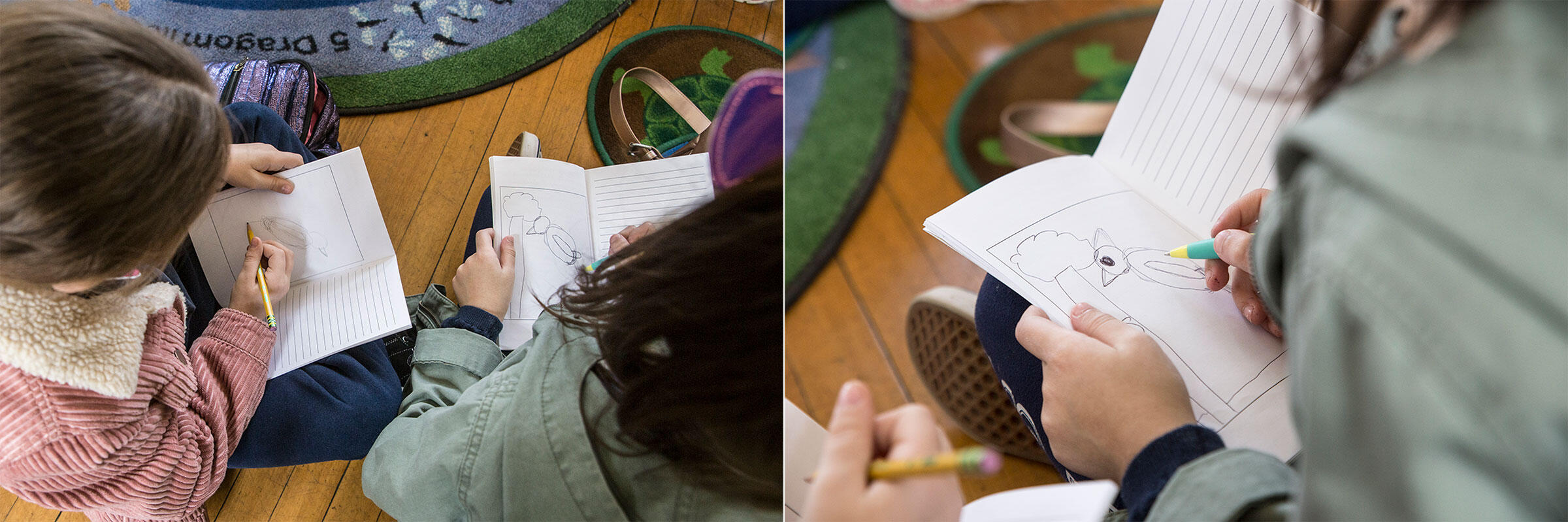 """The students practice drawing Northern Cardinals in their field journals. Drawing and journaling are core to the """"For the Birds!"""" curriculum. Photos: Ambika Singh"""