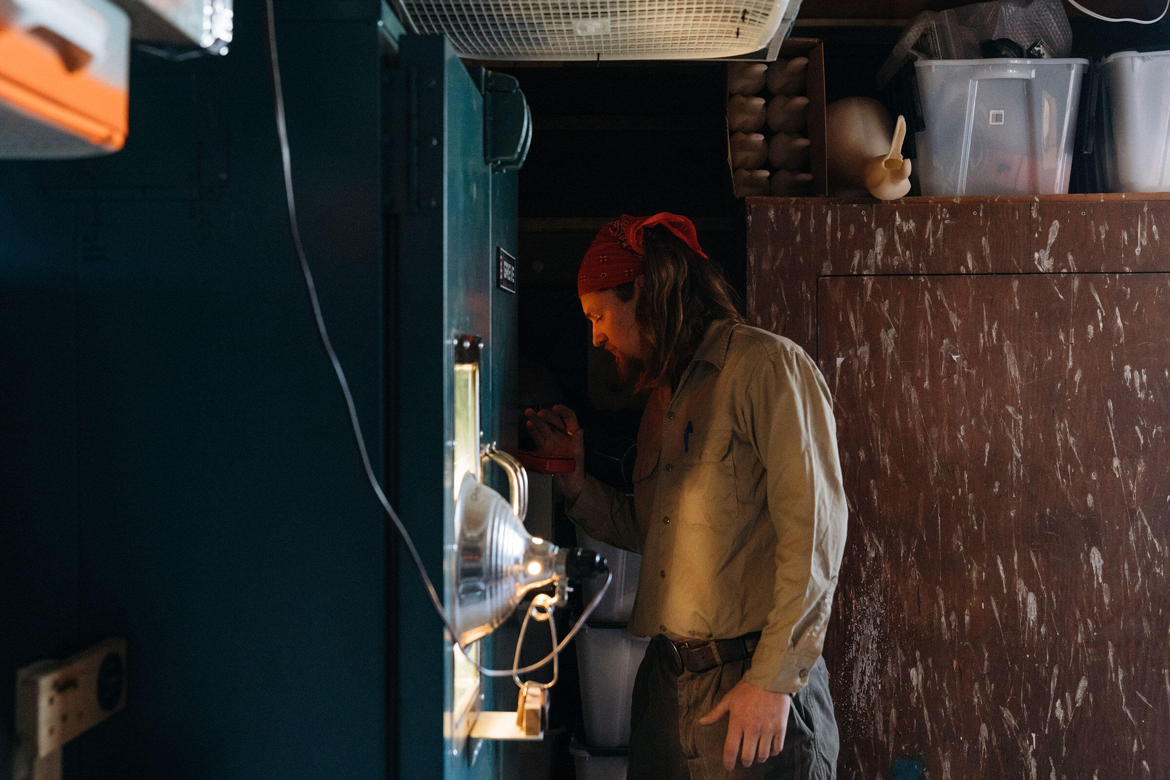 Snyder checks a batch of a decoy molds baking in the oven. Tristan Spinski